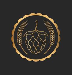 hop and barley golden emblem icon label logo beer vector image