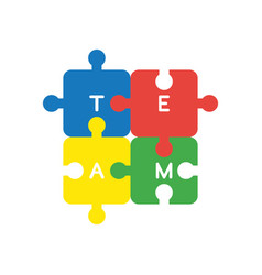 icon concept of four connected team jigsaw puzzle vector image