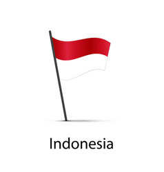 Indonesia flag on pole infographic element vector