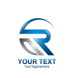 Initial letter r logo template colored grey blue vector