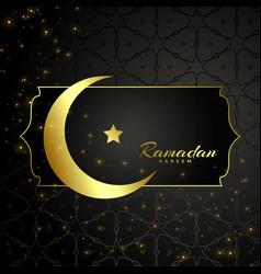 Islamic ramadan kareem moon and star design vector