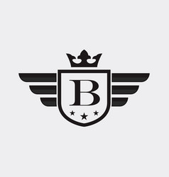letter b shield wing vector image