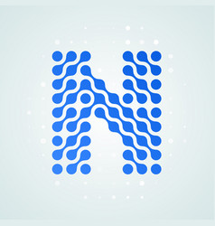 letter n logo halftone icon vector image
