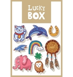Lucky amulets and happy symbols collection vector image