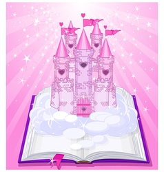 Magic castle appearing from the book vector image