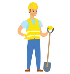 Man wearing uniform standing with shovel vector