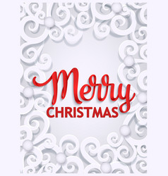 Merry christmas paper cut greeting card template vector
