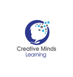 Mind child care learning school logo designs vector