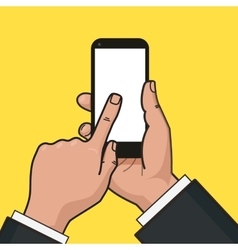 Mobile phone in hand Finger touches a screen of vector image vector image