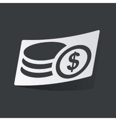Monochrome dollar rouleau sticker vector