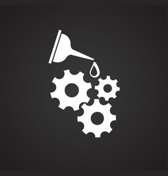 Oiler can gears on black background vector