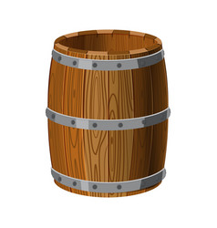 open barrel wooden with metal stripes for alcohol vector image
