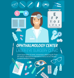 ophthalmologist with eye lens and glasses vector image