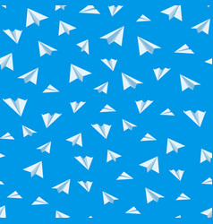 Origami paper airplane seamless background vector