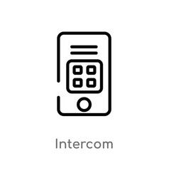 Outline intercom icon isolated black simple line vector