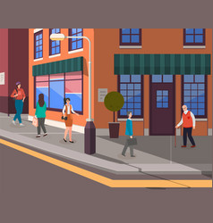 people on city street office building or shop vector image