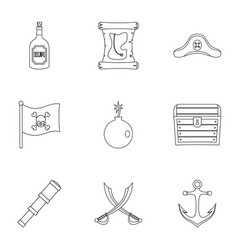 pirates element icon set outline style vector image