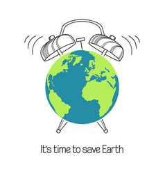planet earth with alarm clock vector image