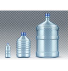 plastik bottles small and big for water realistic vector image