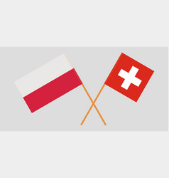 Poland switzerland crossed polish and swiss flags vector