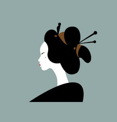 Portrait young japanese girl geisha maiko vector