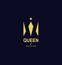 queen crown logotype gold style vector image