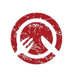 Red grunge lunch logo vector