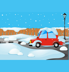 Road scene with car covered by snow vector