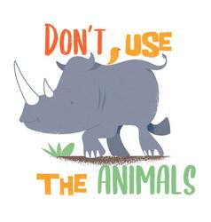 Safari rhinoceros with animal liberation message vector