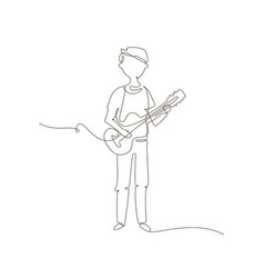 schoolboy playing guitar - one line design style vector image