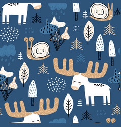 seamless childish forest pattern with moose snail vector image