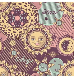 seamless pattern decorative sun image vector image