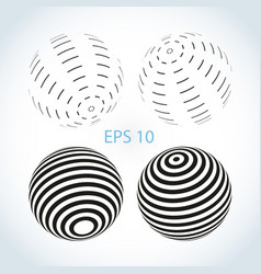set of striped ball logo vector image