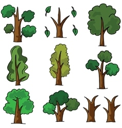 Set of tree doodles object vector