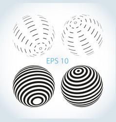 set striped ball logo vector image