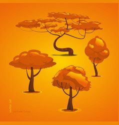 set trees tree funny cartoon forest tree vector image