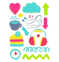 Sketch cute different elements vector image