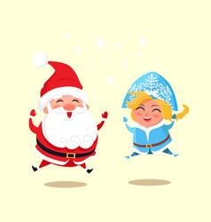 snow maiden and santa jumping vector image
