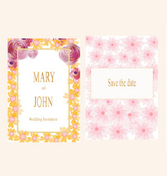 Sweet pink and gold flower wedding card vector