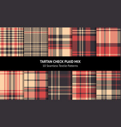 Tartan plaid pattern set vector