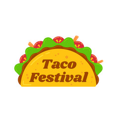 Traditional mexican snack food taco festival sign vector
