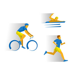 Triathlon - cycling marathon swimming vector