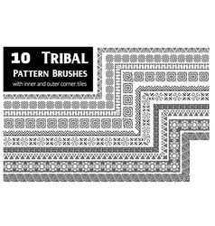 tribal pattern brushes collection vector image