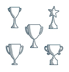 Trophy cup icons variable line flat design style vector