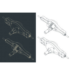 Truck differential isometric drawings vector