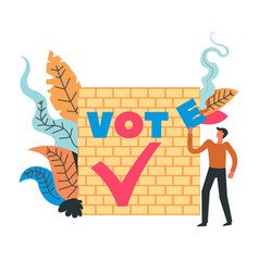 vote man standing by wall with fonts and foliage vector image