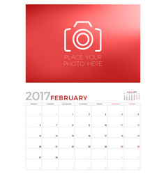Wall calendar planner template for february 2017 vector