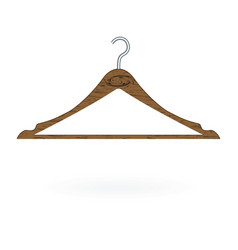 wood clothes hanger isolated on white background vector image