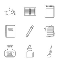 Writer pen tools icon set outline style vector
