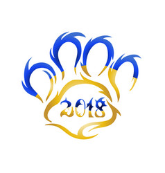 yellow dog 2018 new year s design dog - symbol vector image